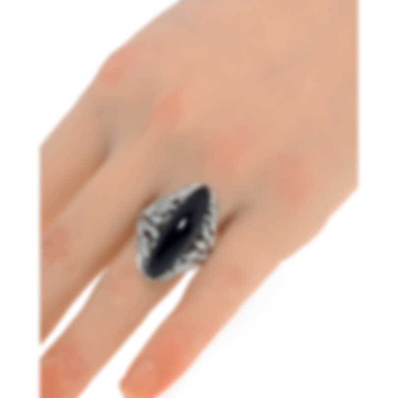 Luca Carati 18k White Gold Diamond 0.79ct And Onyx Ring Sz 6.5 G957A-B84B