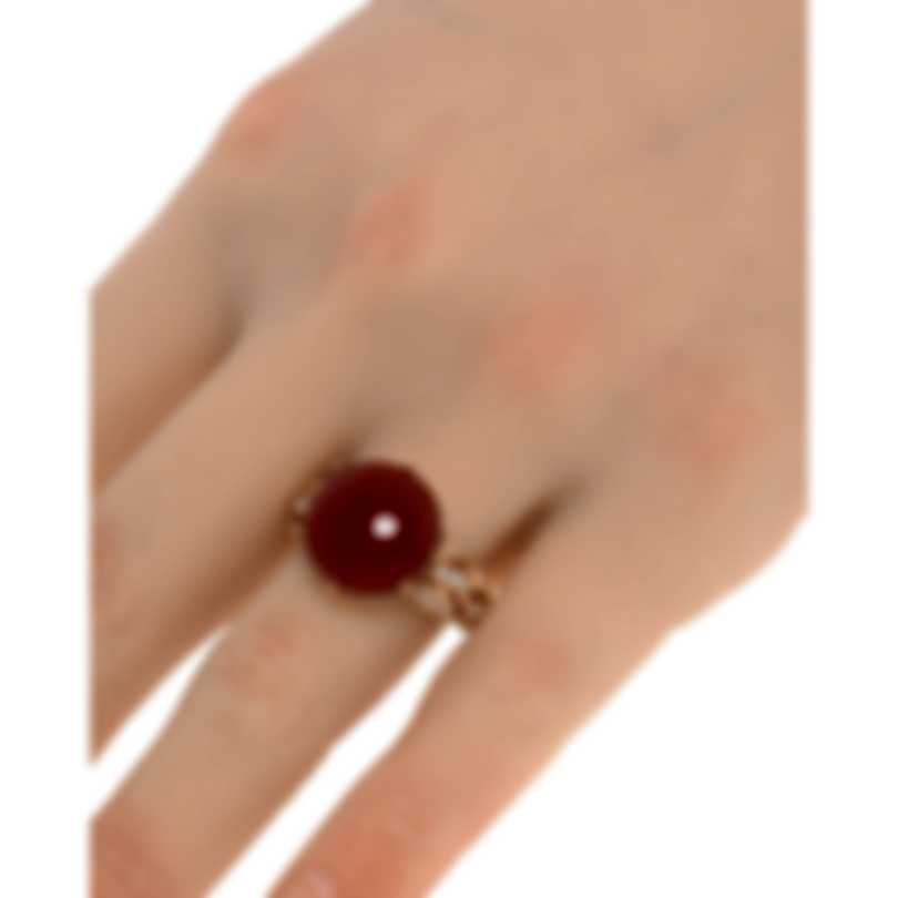 Luca Carati 18k Rose Gold Diamond 0.34ct And Red Agate Ring Sz 7.75 G982A-C067