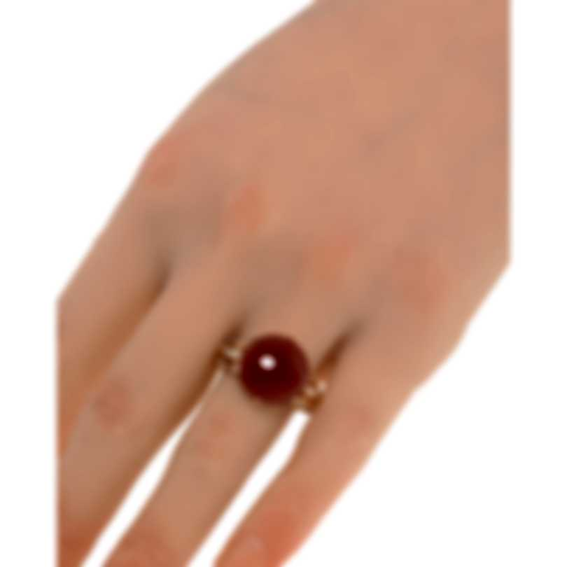 Luca Carati 18k Rose Gold Diamond 0.34ct And Red Agate Ring Sz 7.5 G982A-C4F3