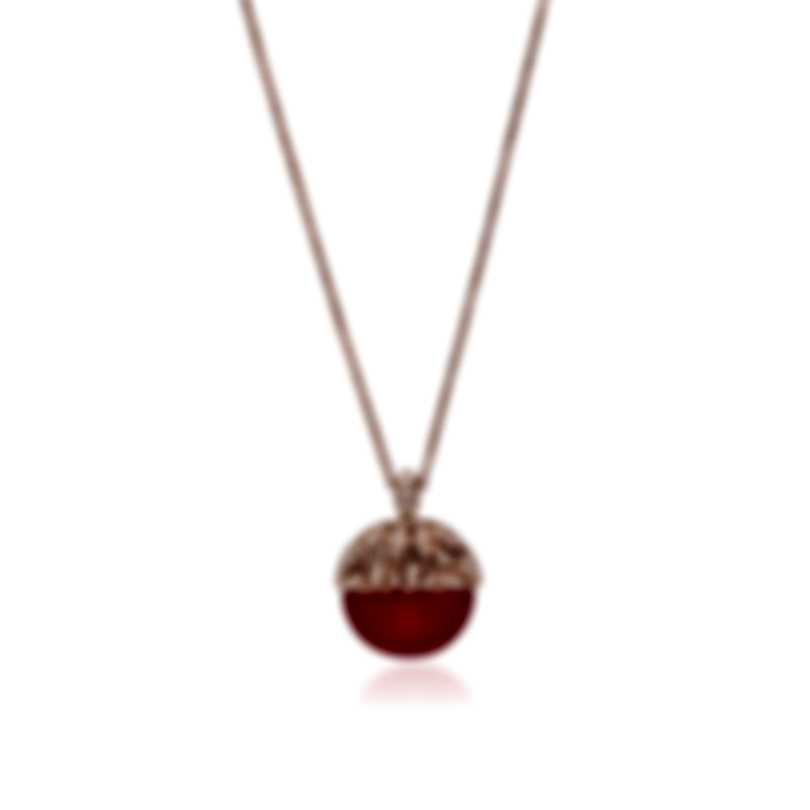 Luca Carati 18k Rose Gold Diamond 0.30ct And Red Agate Necklace G982C-C4F4