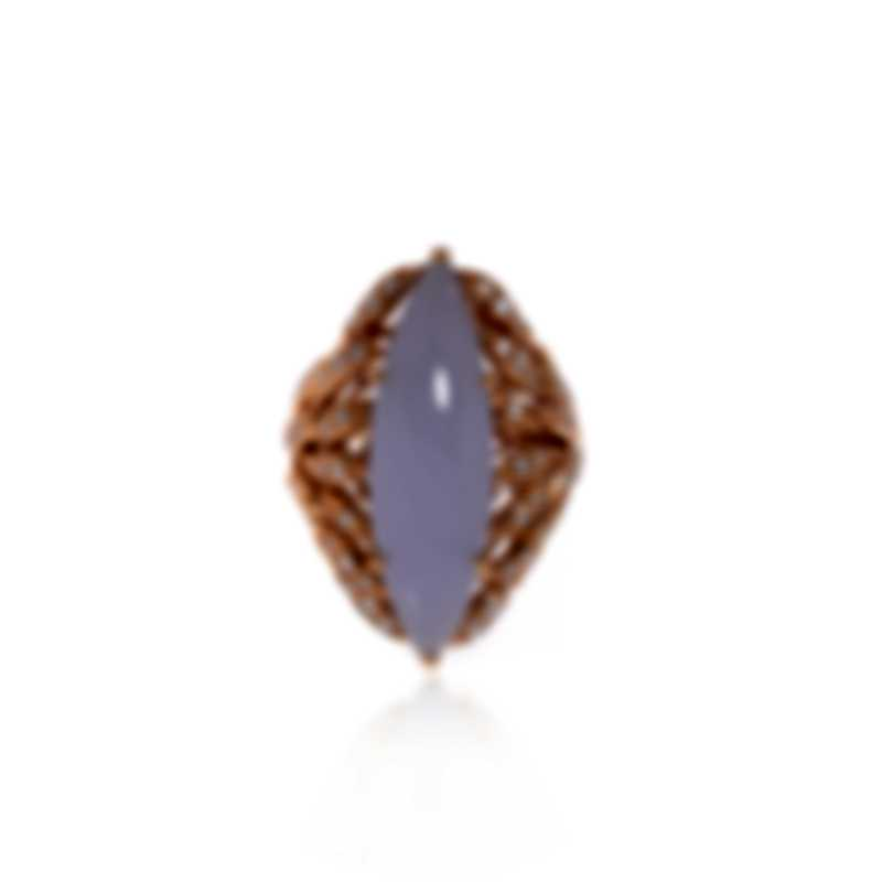Luca Carati 18k Rose Gold Diamond 0.78ct And Chalcedony Ring Sz 6.5 G930A-BF12