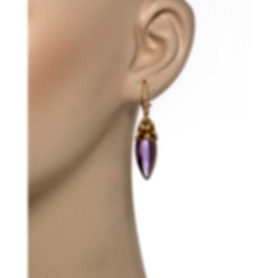 Luca Carati 18k Rose Gold Diamond 0.45ct And Amethyst Earrings G931B-BC18