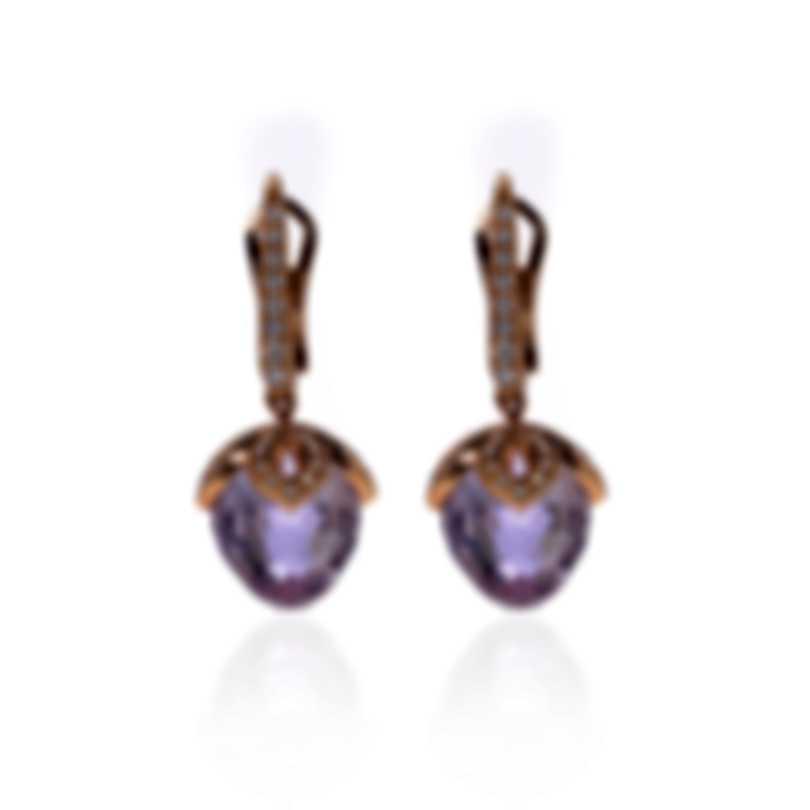Luca Carati 18k Rose Gold Diamond 0.52ct And Amethyst Earrings G935B-BEF7