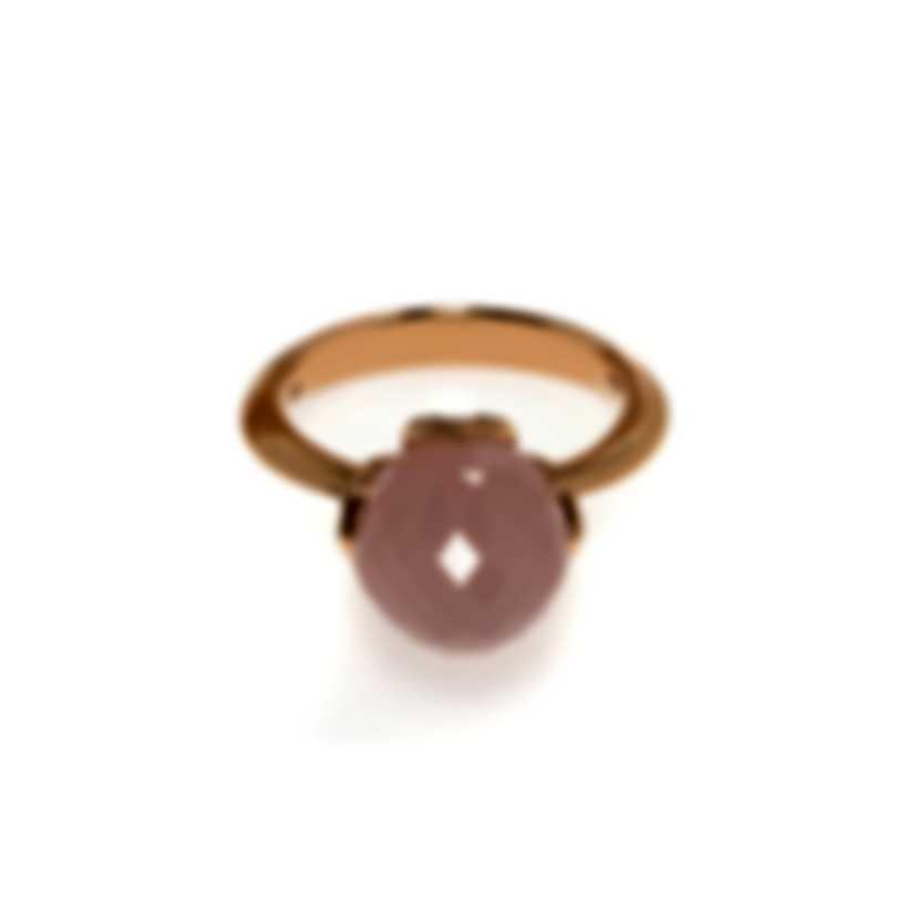 Luca Carati 18k Rose Gold Diamond 0.13ct And Chalcedony Ring Sz 7 G936A-B550