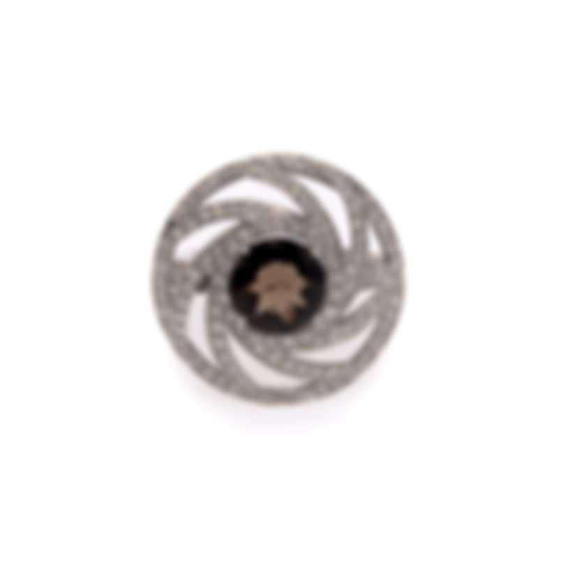 Luca Carati 18k White Gold Diamond 1.18ct And Smoky Quartz Ring Sz 7 NG992A-BB2E