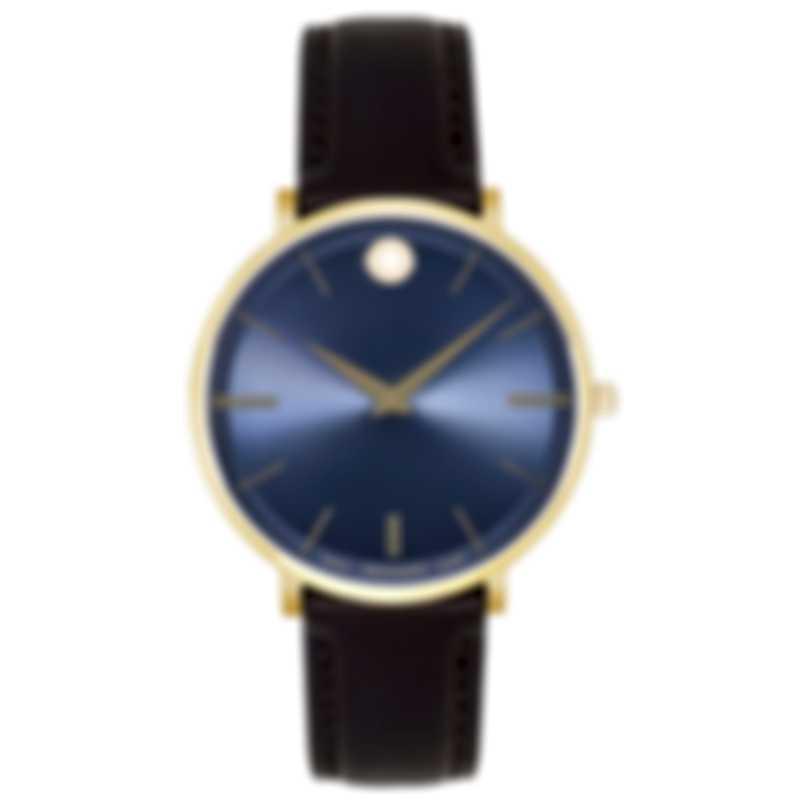 Movado Ultra Slim Gold PVD Blue Dial Quartz Men's Watch 607088