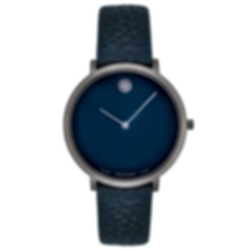 Movado Ultra Slim Blue Museum Dial Quartz Ladies Watch 0607341
