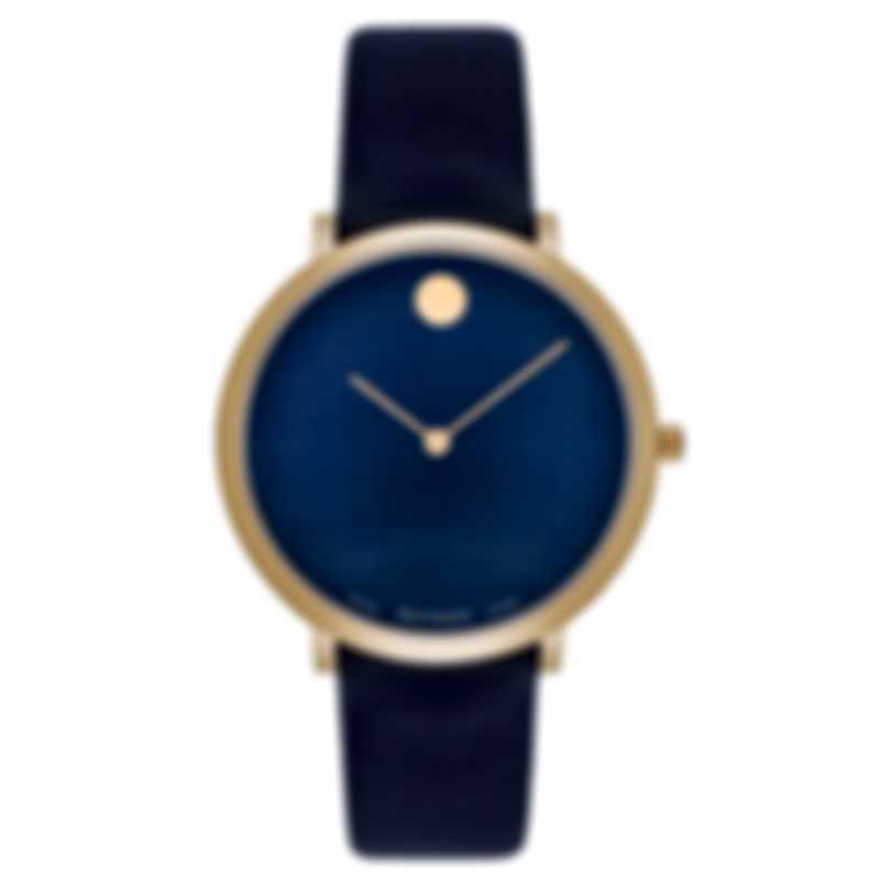 Movado Ultra Slim Navy Blue Dial Quartz Ladies Watch 0607403