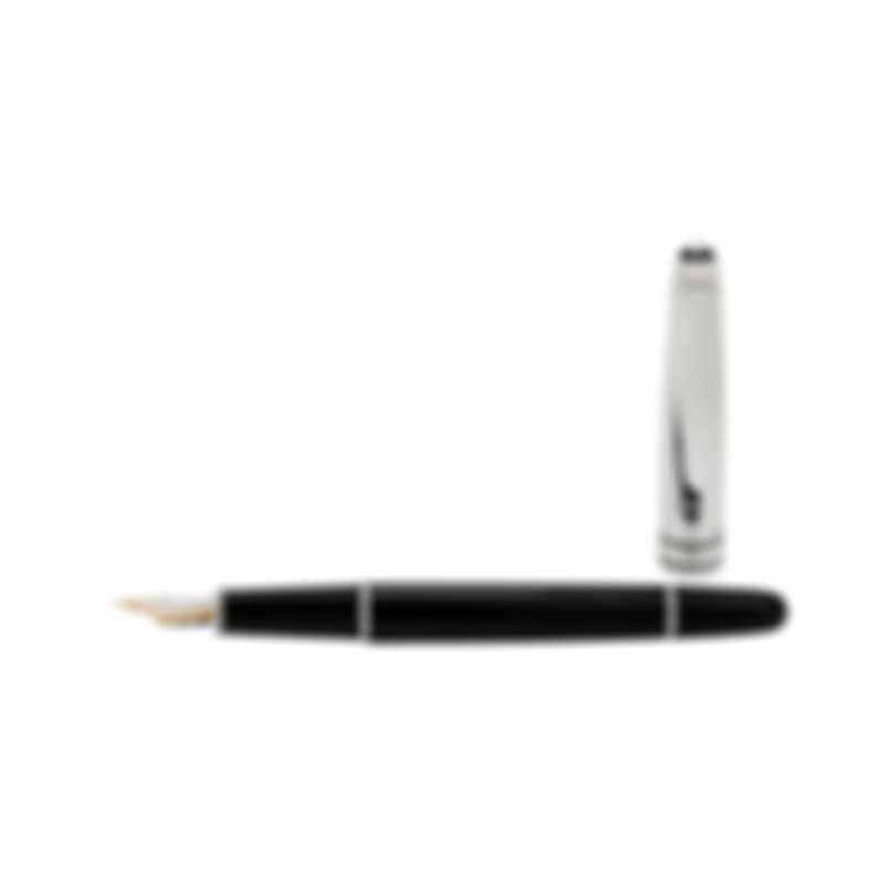 Montblanc Meisterstuck Solitaire Doue Steel Classique Black Fountain Pen 5013