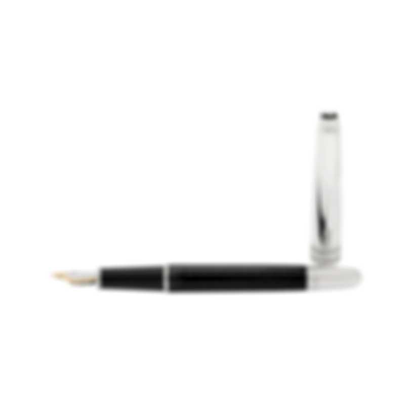 Montblanc Meisterstuck Solitaire Doue Black & Silver Fountain Pen 8574