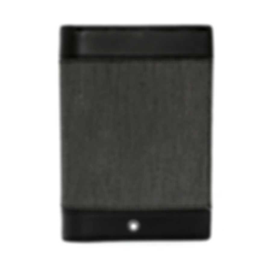 Montblanc Meisterstuck Black Leather And Jacquard Passport Holder 107640
