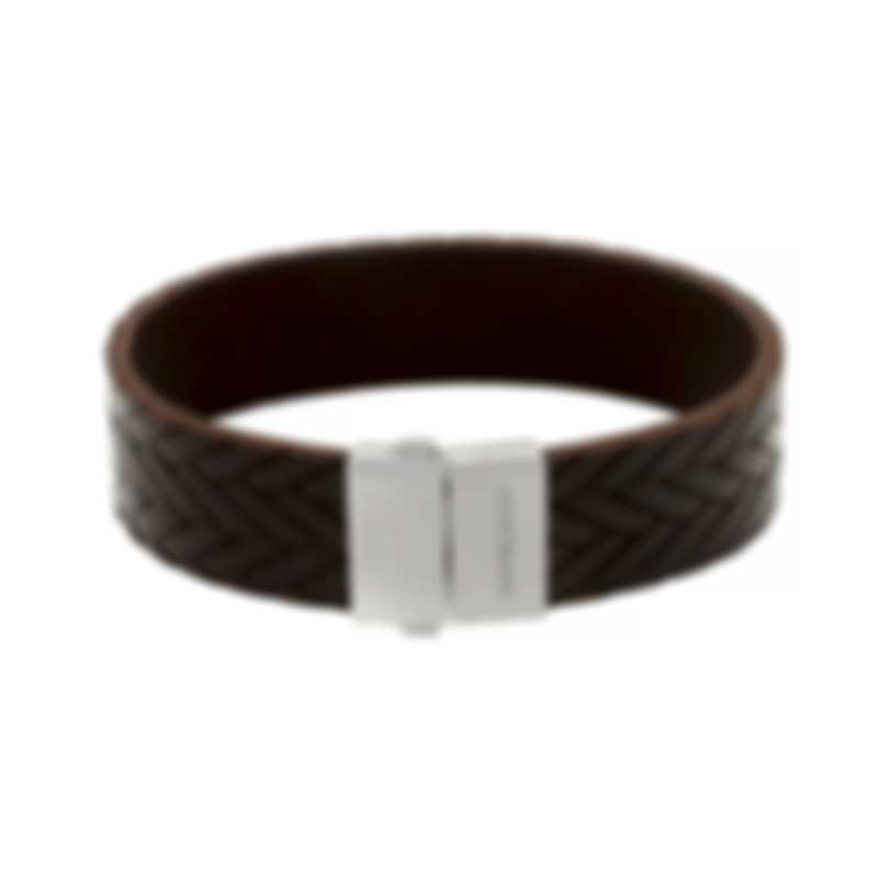 Montblanc Brown Leather And Stainless Steel Bracelet 11497863
