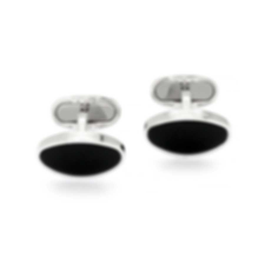 Montblanc Black & Silver Onyx And Stainless Steel Cufflinks 116642