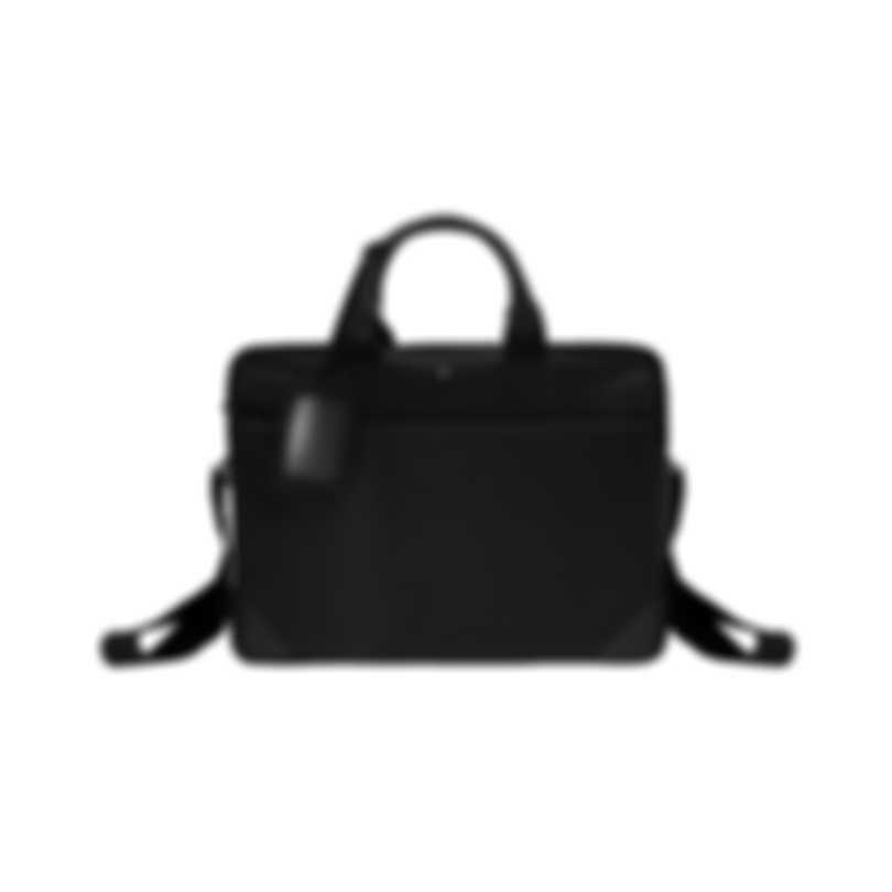 Montblanc Sartorial Jet Black Leather And Nylon Briefcase 116791