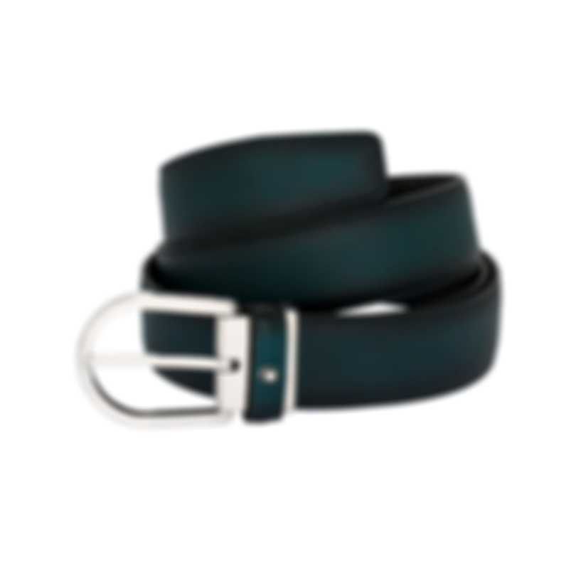 Montblanc Classic Black Leather And Stainless Steel Belt 118415