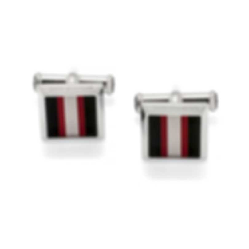 Montblanc Urban Spirit Black & Red Stainless Steel & Lacquer Cufflinks 118595