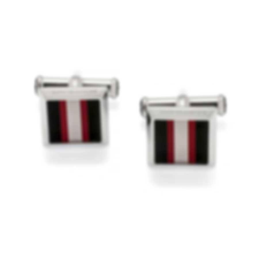 Montblanc Urban Spirit Black & Red Stainless Steel & Lacquer Cufflinks 118595