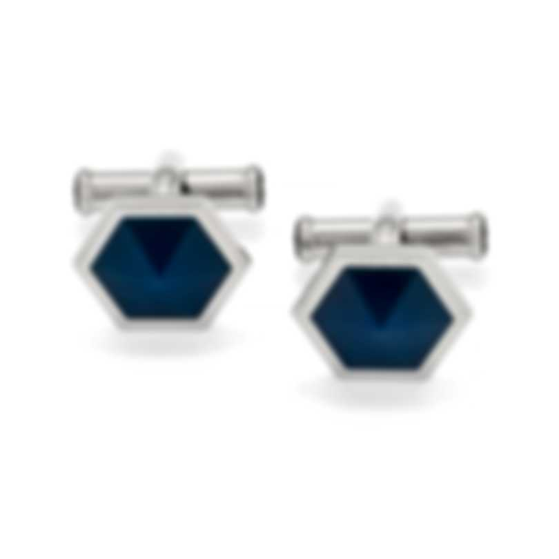 Montblanc Sartorial Blue & Silver Stainless Steel And Onyx Cufflinks 118600