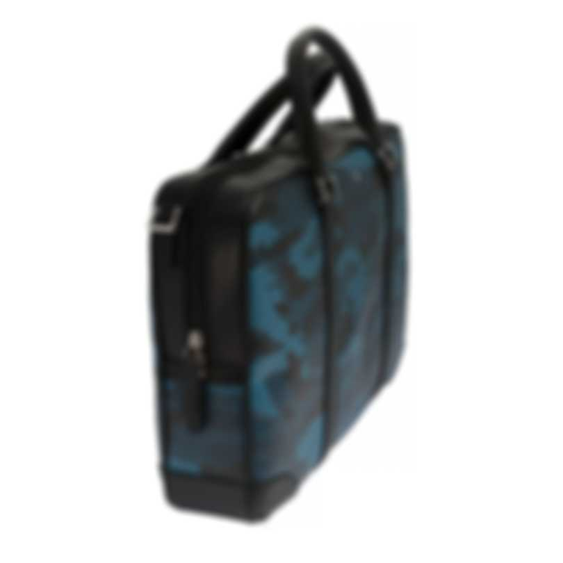 Montblanc Sartorial Blue Camouflage & Black Leather Briefcase 118668
