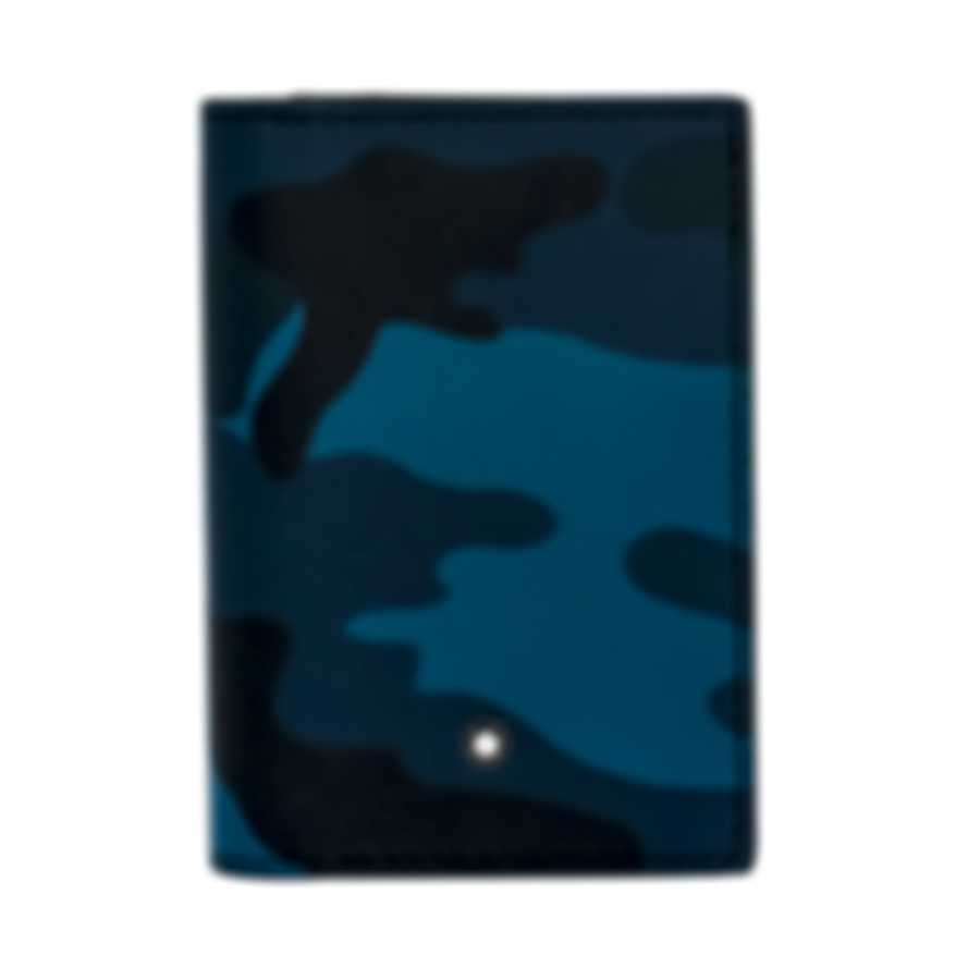 Montblanc Sartorial Blue Camouflage Leather And Polyester Card Holder 118686