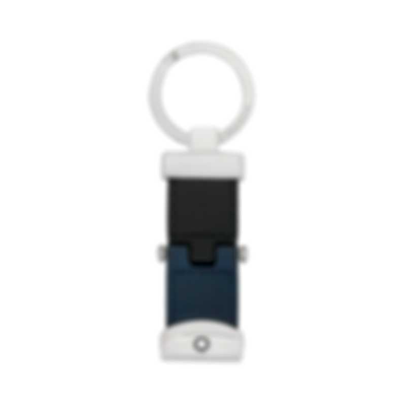 Montblanc Sartorial Indigo Leather And Stainless Steel Key Chain 118696