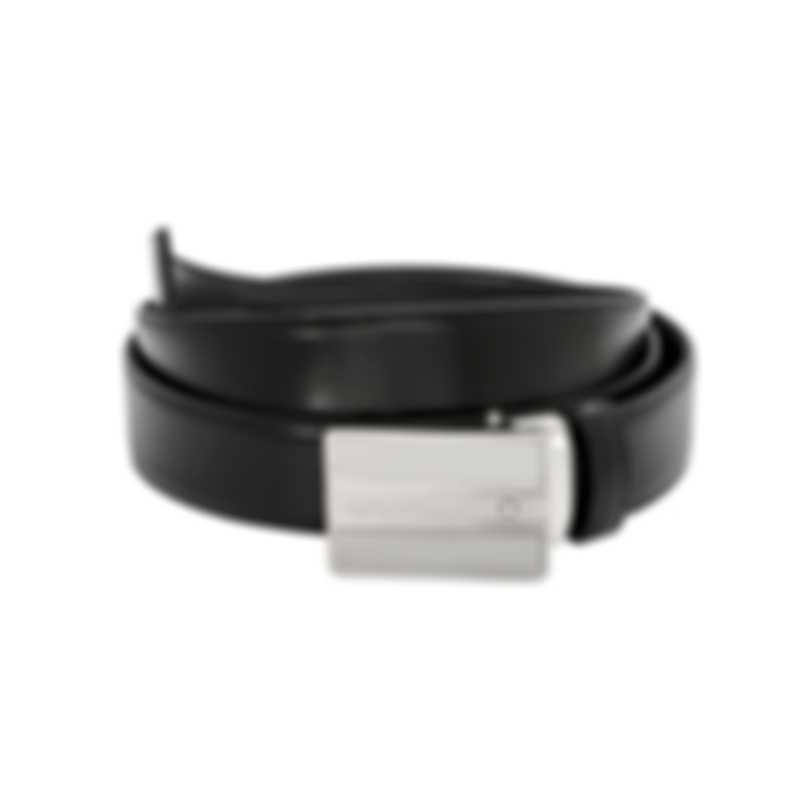 Montblanc Black Leather And Stainless Steel Belt 118767