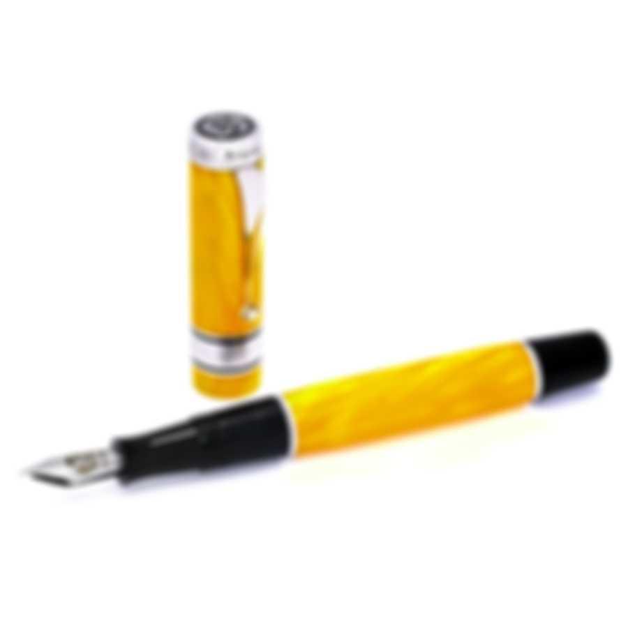 "Montegrappa Duchess Of York ""Garden"" Yellow Celluloid Sterling Silver Fountain Pen Extra Fine"