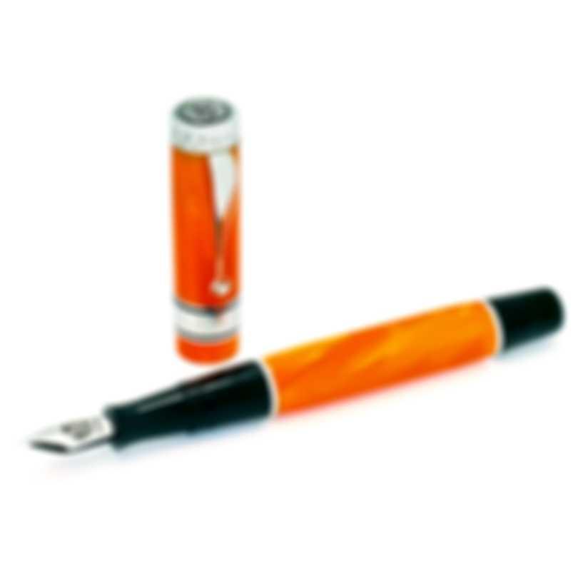 "Montegrappa Duchess Of York ""Forest""  Orange Celluloid & Sterling Silver Fountain Pen Fine"