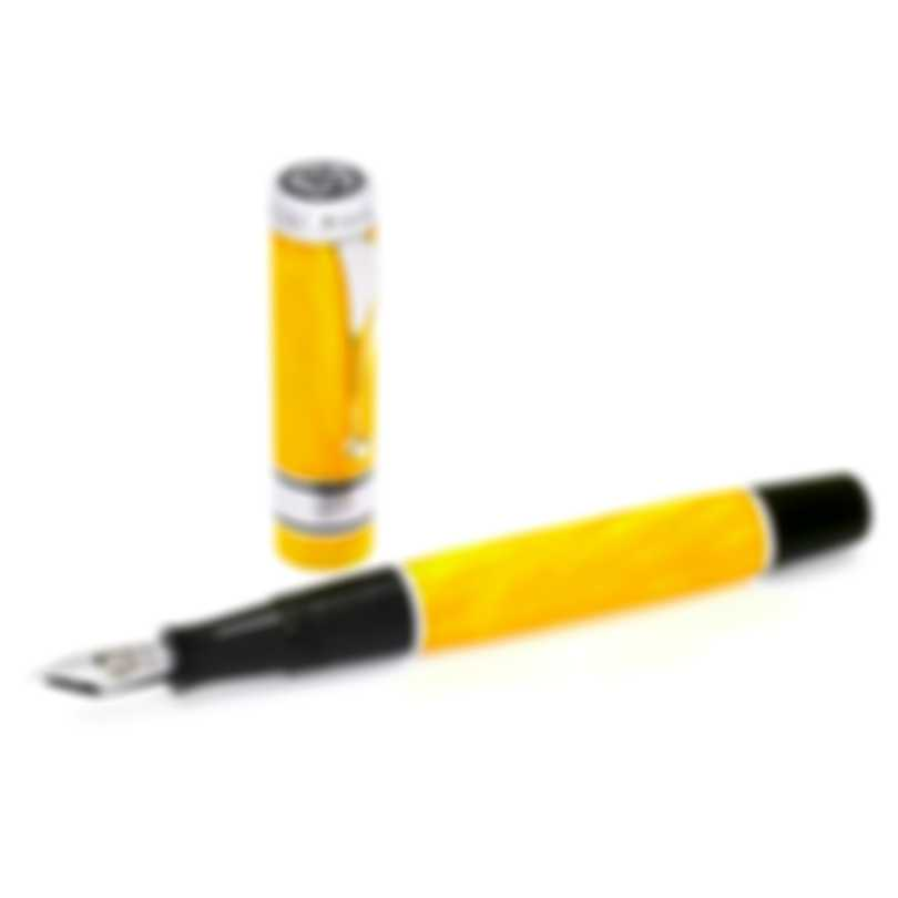 "Montegrappa Duchess Of York ""Garden"" Yellow Celluloid Sterling Silver Fountain Pen Broad"