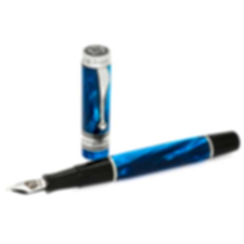 """Montegrappa Duchess Of York """"Ocean"""" Blue Celluloid Sterling Silver Fountain Pen Broad"""