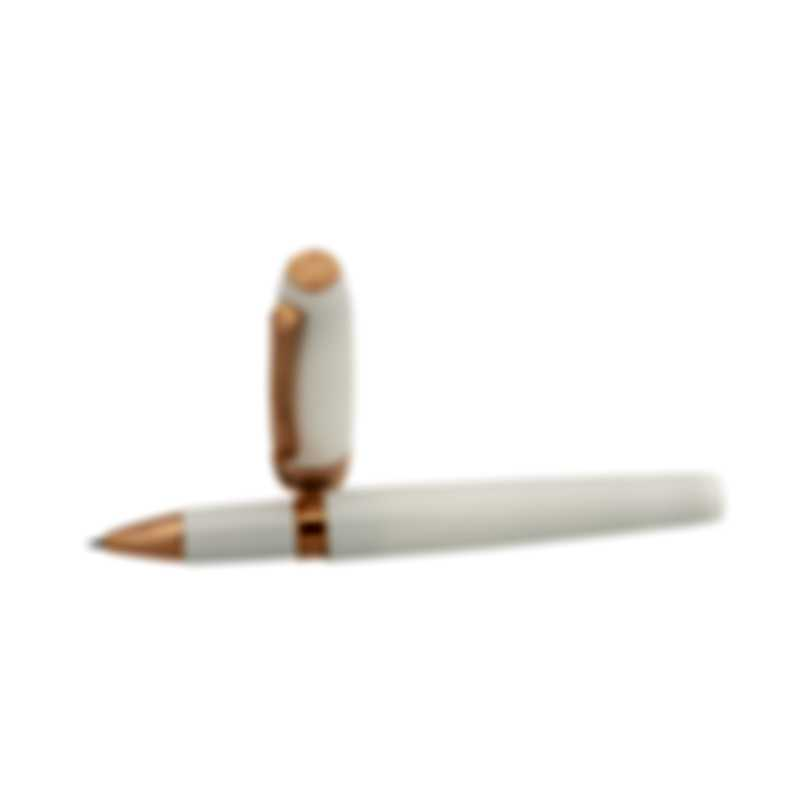 Montegrappa Fortuna White Resin & Rose Gold Plated Rollerball Pen ISFORRRH