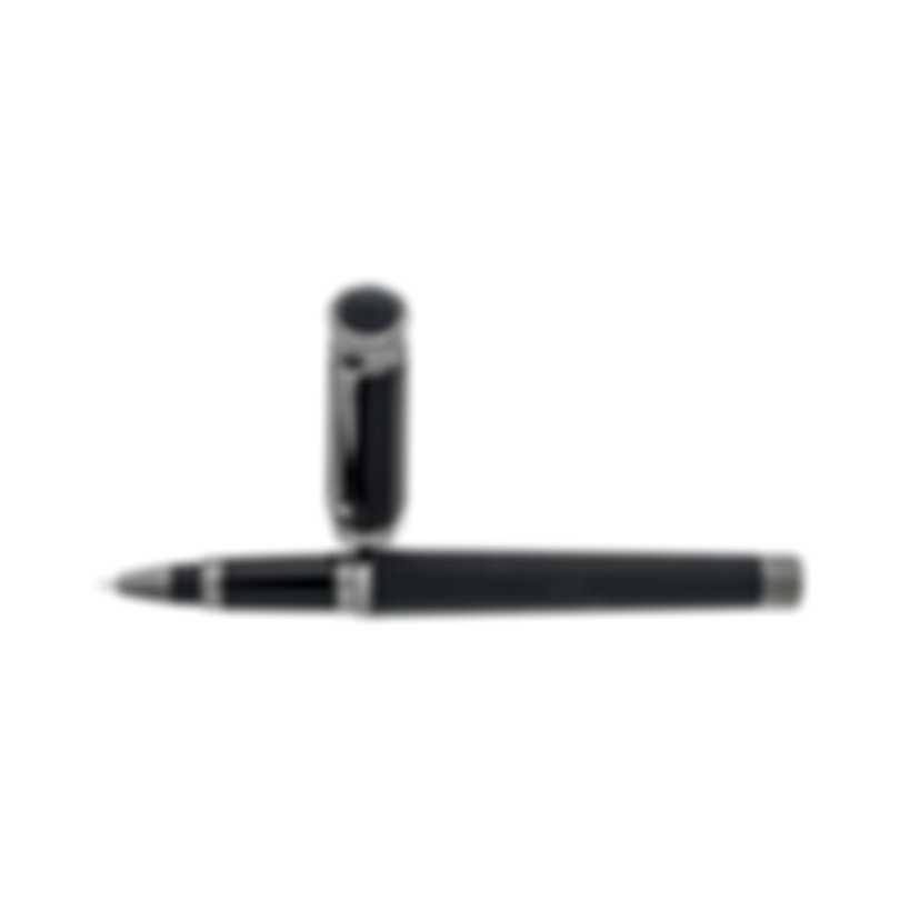 Montegrappa NeroUno Linea Black Resin | Ruthenium Plated Rollerball Pen ISNLCRAC