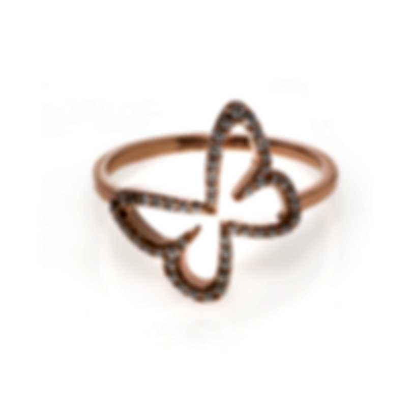 Messika Butterfly 18k Rose Gold Diamond 0.22ct Ring Sz 6.5 V014293