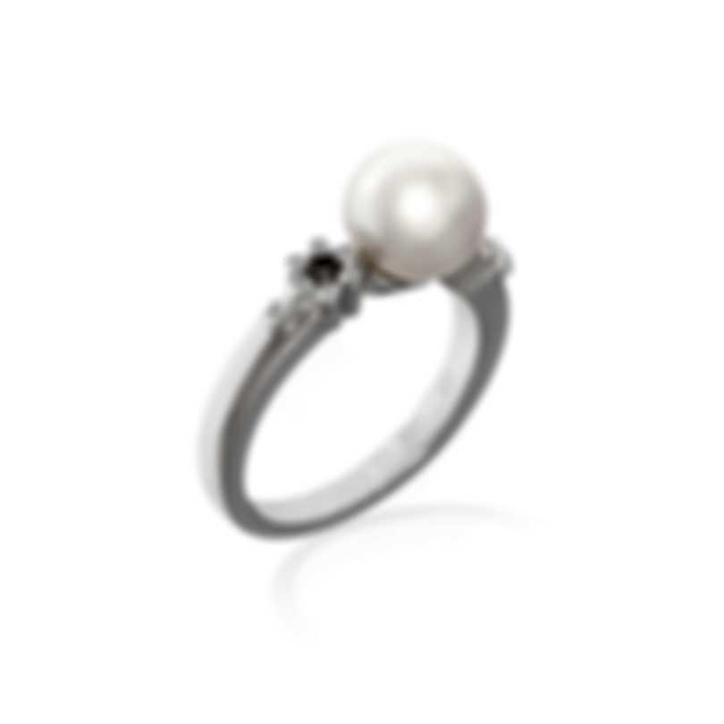 Mikimoto 18k White Gold Diamond(0.07ct Twd.) Akoya Pearl Ring Sz 7.25 PRA638DW