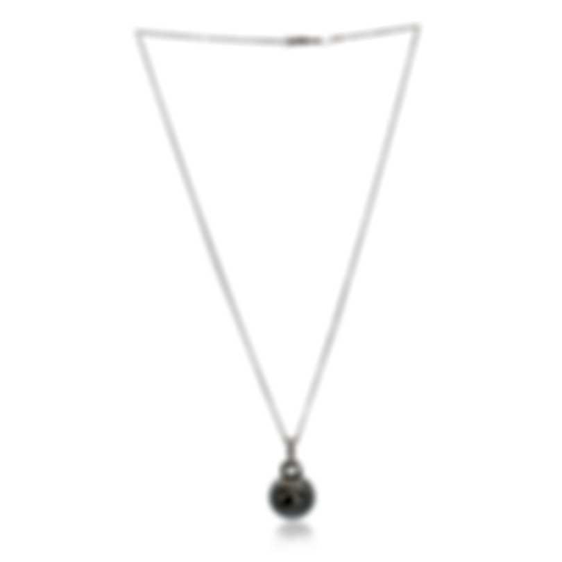 Mikimoto 18k White Gold Diamond & Black South Sea Pearl Pendant Necklace