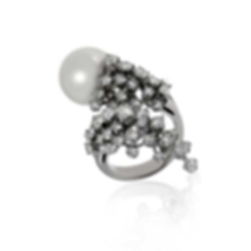 Mikimoto 18k White Gold Diamond 3.58ct And Pearl Statement Ring Sz 6.5