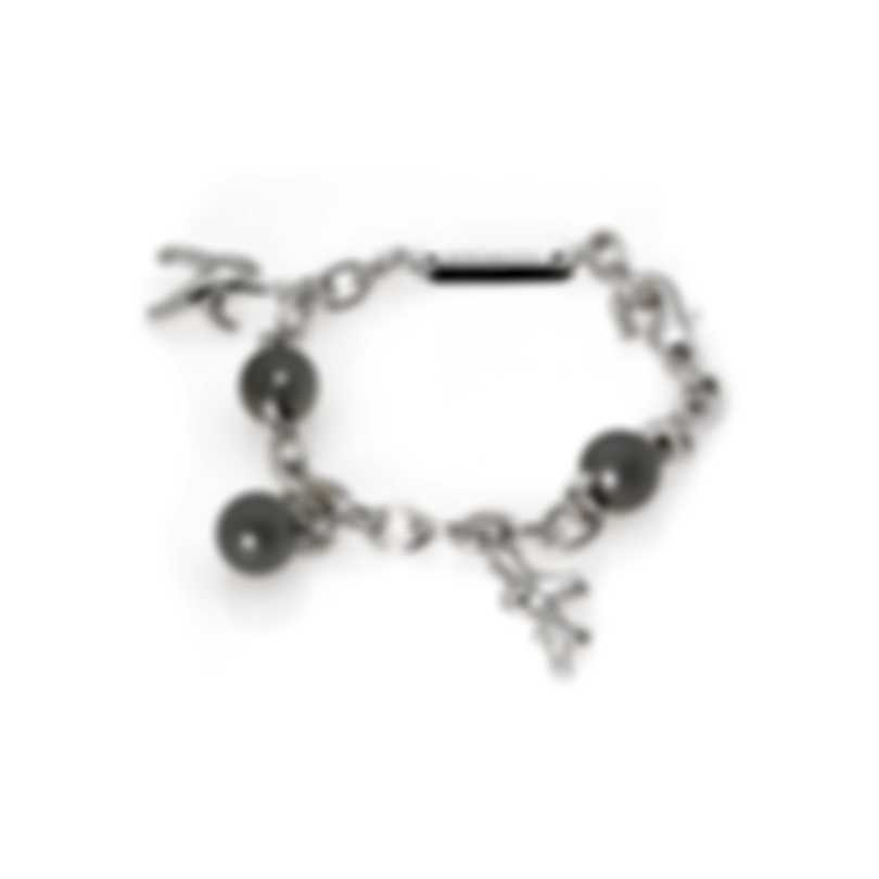 Mikimoto 18k White Gold Diamond 0.41ct And Black South Sea Pearl Charm Bracelet