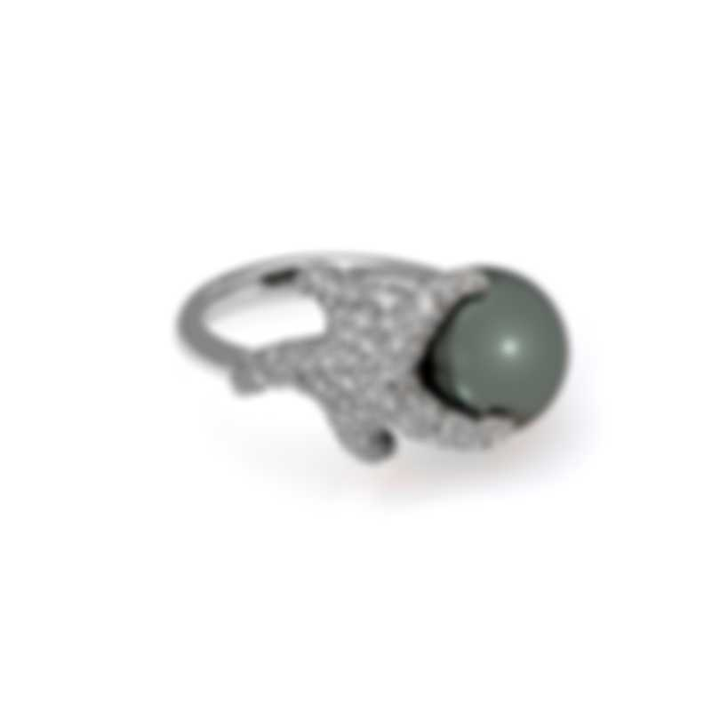 Mikimoto 18k White Gold Diamond 1.10ct And Black South Sea Pearl Ring Sz 6.5