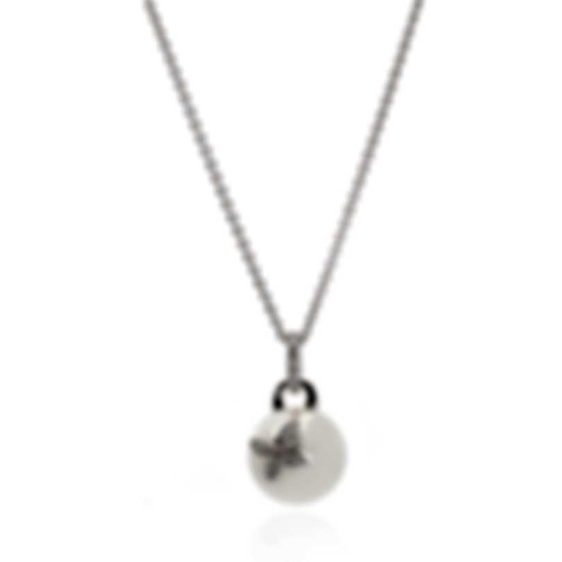 Mikimoto 18k White Gold Diamond 0.30ct And Pearl Pendant Necklace