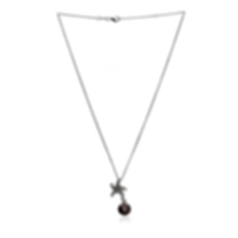 Mikimoto 18k White Gold Diamond And Black South Sea Pearl Pendant Necklace
