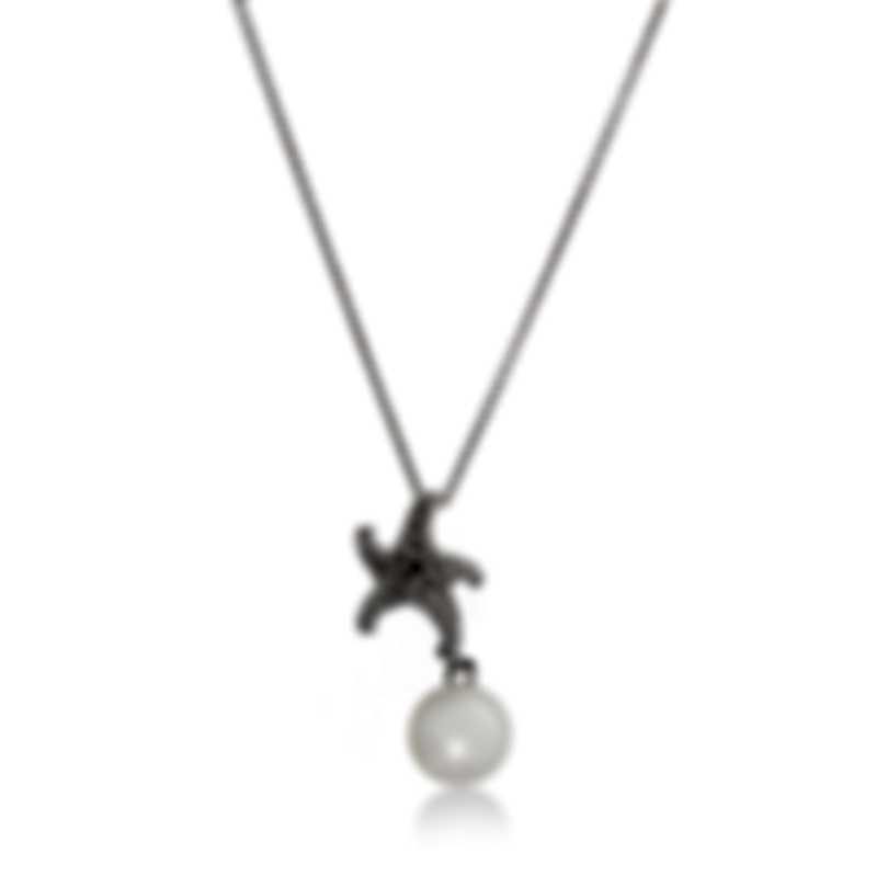 Mikimoto 18k White Gold Diamond And White South Sea Pearl Pendant Necklace