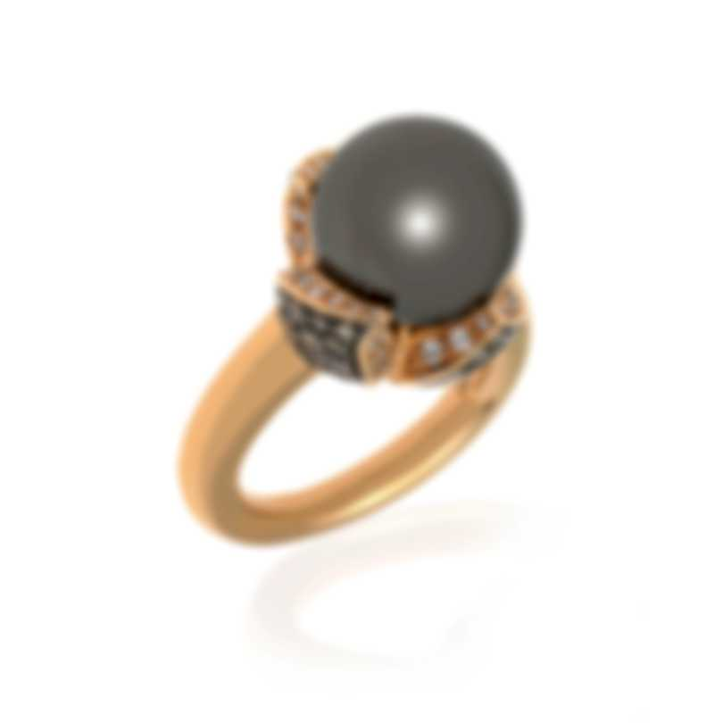 Mikimoto 18k Rose Gold Diamond 1.09ct And South Sea Pearl Cocktail Ring Sz 6.75