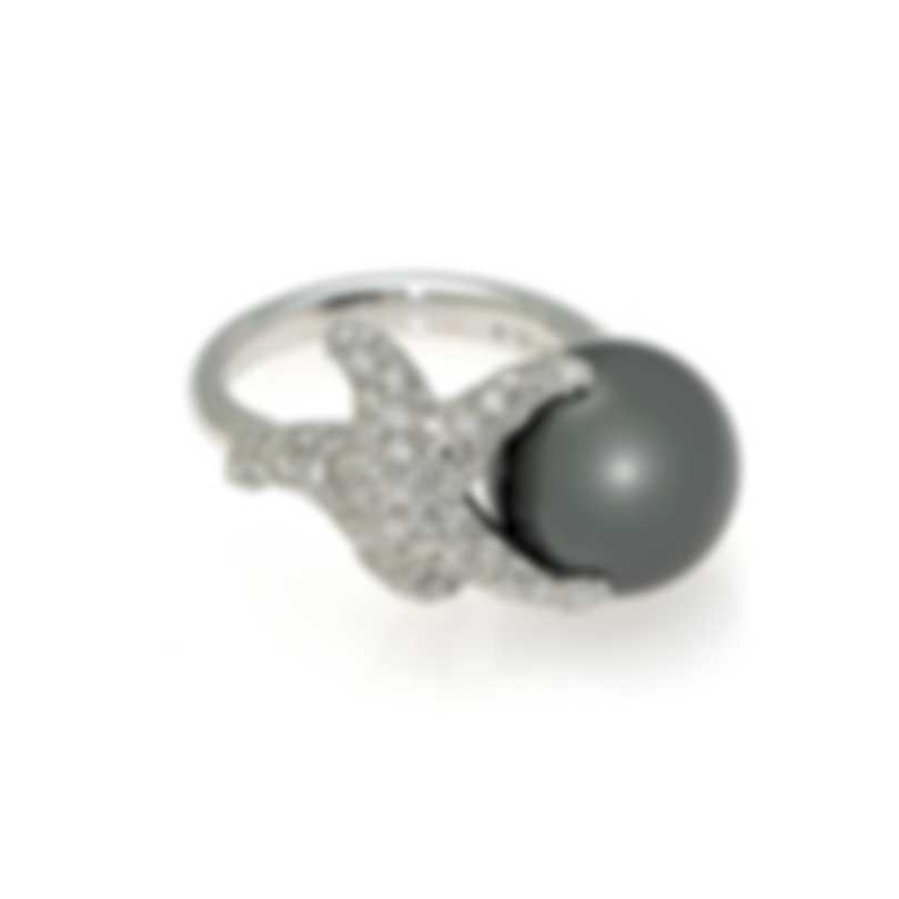 Mikimoto 18k White Gold Diamond 0.84ct & Black South Sea Pearl Cocktail Ring Sz7