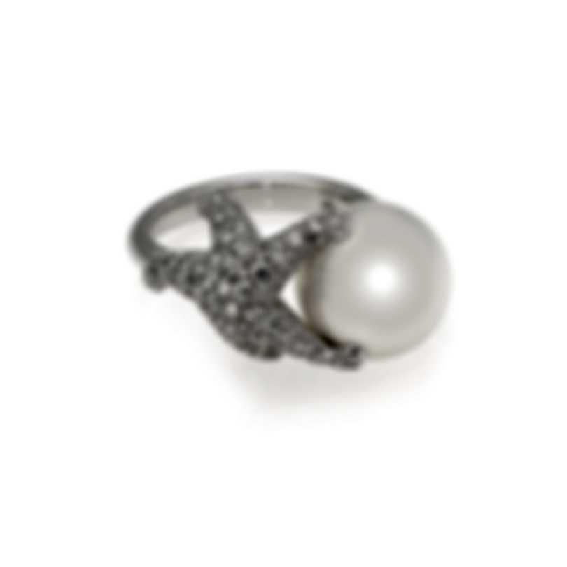 Mikimoto 18k White Gold Diamond 0.96ct And Pearl Cocktail Ring Sz 6.5