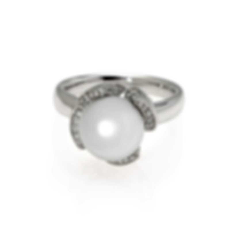 Mikimoto 18k White Gold Diamond 0.25ct And South Sea Pearl Cocktail Ring Sz 6.5