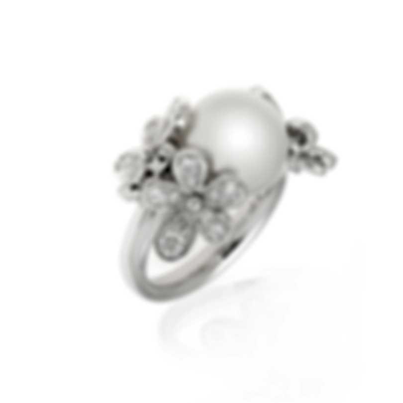Mikimoto 18k White Gold Diamond 0.90ct And White South Sea Pearl Ring Sz 7.5