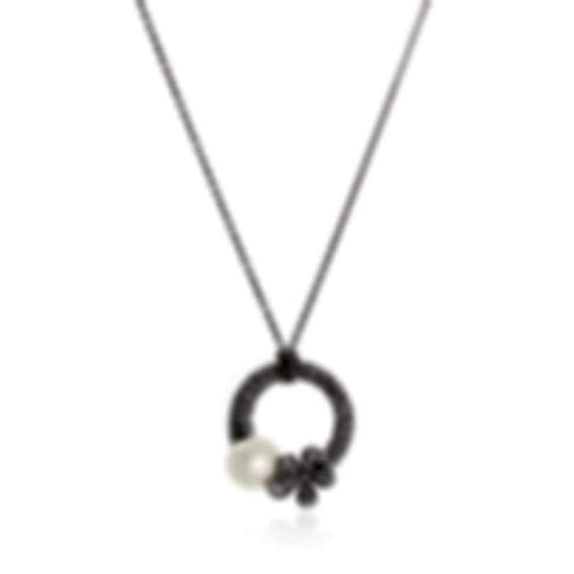 Mikimoto 18k White Gold Diamond 1.10ct & White South Sea  Pearl Pendant Necklace