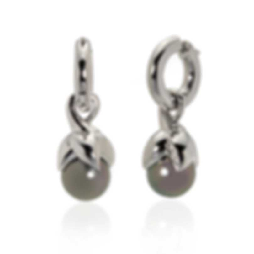 Mikimoto 18k White Gold Diamond And Black South Sea Pearl Dangle Earrings