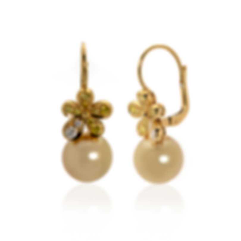 Mikimoto 18k Yellow Gold Diamond 0.22ct And Pearl Flower Drop Earrings