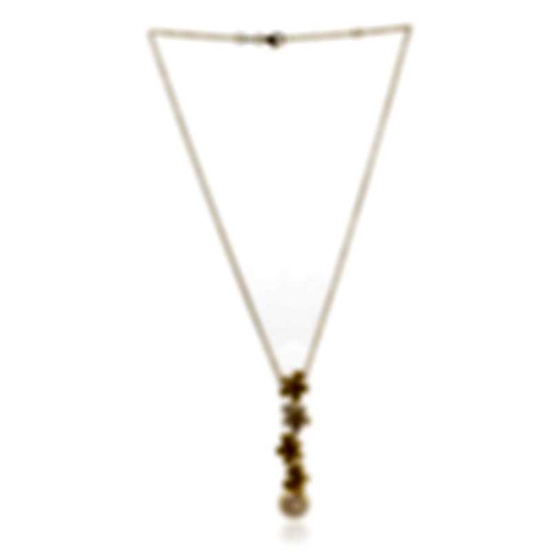 Mikimoto 18k Yellow Gold Diamond 0.32ct And South Sea Pearl Pendant Necklace